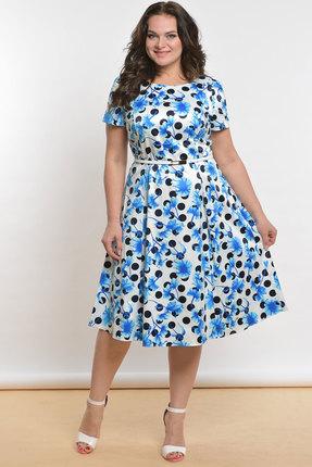 Фото - Платье Lady Style Classic 1813 белый с голубым цвет белый с голубым