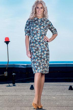 Фото - Платье DilanaVIP 1347 бирюзовый с цветами цвет бирюзовый с цветами