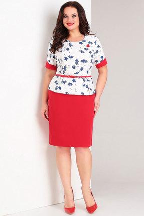 Комплект юбочный Милора-Стиль 446 красный с белым и синим