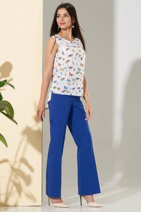 Комплект брючный Миа Мода 1005-3 молочный с синим