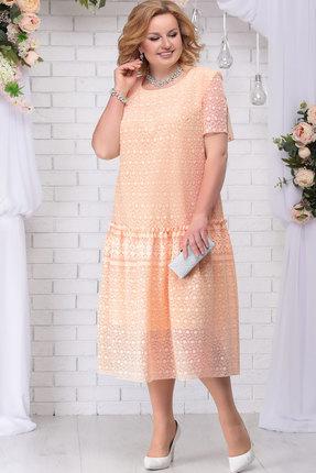 Купить Платье Ninele 7241 персик, Вечерние платья, 7241, персик, ПЭ 80% Вискоза 20%, Подкладка – Хлопок 100%, Мультисезон