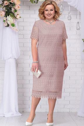 Купить Платье Ninele 7243 пудра, Вечерние платья, 7243, пудра, Кружево – Вискоза 63%, ПЭ 37%, Подкладка – Хлопок 100%, Мультисезон
