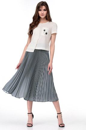 Комплект юбочный Мишель стиль 782 молочный с черно-белым
