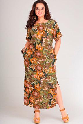 Купить Платье Andrea Style 00149 олива с оранжевым, Повседневные платья, 00149, олива с оранжевым, вискоза 65%, ПЭ 35%, Лето