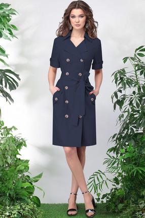 Купить Платье LeNata 11015 темно-синий, Повседневные платья, 11015, темно-синий, лен 53%, вискоза 44%, спандекс 3%, Лето