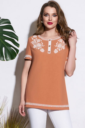 Узкая кружевная блузка с вырезом и принтом