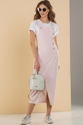 Купить со скидкой Комплект с сарафаном Deesses D-072 розовый с белым