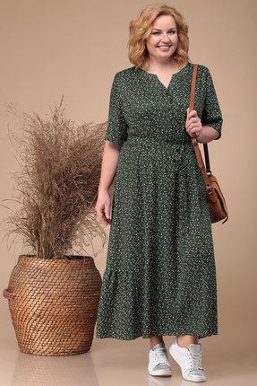 Платье Линия-Л Б-1728 темно-зеленые цветы