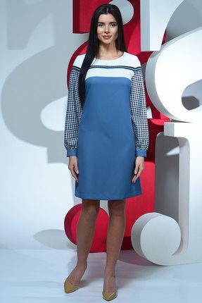 Купить Платье Juliet Style D43 голубой, Повседневные платья, D43, голубой, вискоза 55%, полиэстер 40%, лайкра 5% Ткань: костюмная, Мультисезон