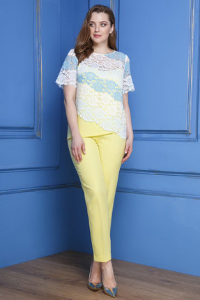 Комплект брючный Anastasia 297 желтый с синим