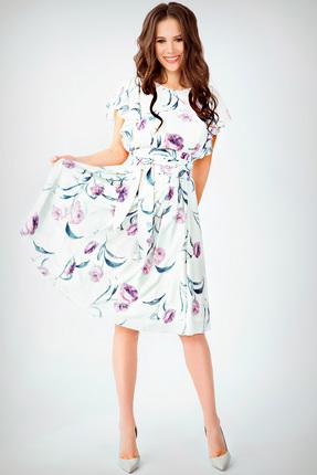 Купить Платье Teffi style 1403 лавандовый, Повседневные платья, 1403, лавандовый, Ткань – шифон-стрейч. 95% ПЭ 5% сп., Мультисезон