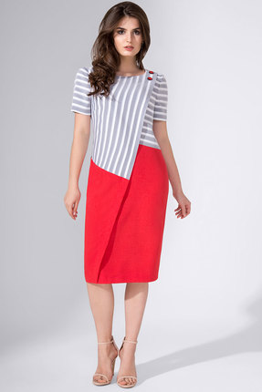 Купить Платье Avanti Erika 812 серый с красным, Повседневные платья, 812, серый с красным, вискоза 72%, ПЭ 25%, спандекс 3%, Лето