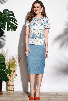 Комплект юбочный Lissana 3706 белый с голубым