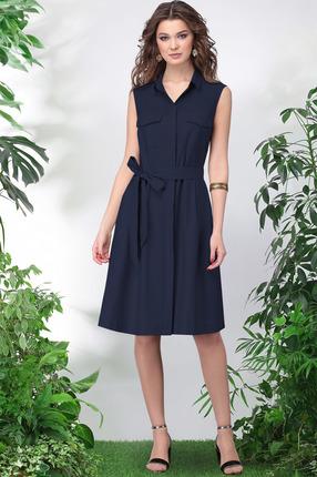 Купить Платье LeNata 11016 темно-синий, Повседневные платья, 11016, темно-синий, лен 53%, вискоза 44%, спандекс 3%, Лето