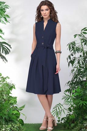 Купить Платье LeNata 11014 темно-синий, Повседневные платья, 11014, темно-синий, лен 53%, вискоза 44%, спандекс 3%, Лето