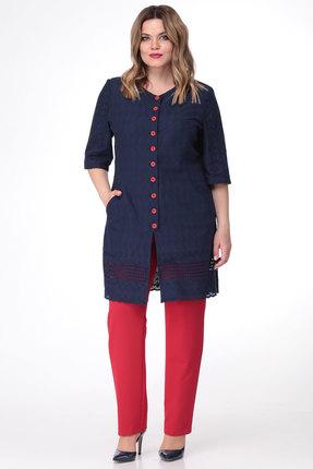 Комплект брючный Viola Style 20529 синий с красным