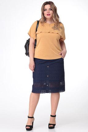 Комплект юбочный Viola Style 2608 горчица с синим