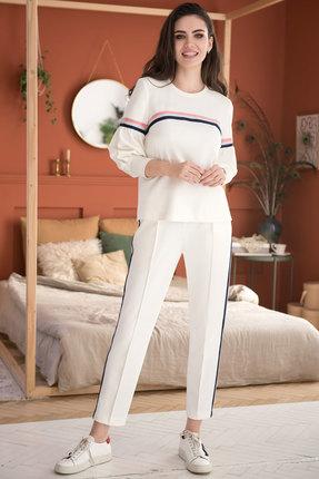 Купить Комплект брючный ЮРС 19-176-1 молочные тона, Брючные, 19-176-1, молочные тона, Тип ткани: костюмно-плательная (трикотажное полотно). полиэстер 72%, вискоза 24%, спандекс 4%., Лето