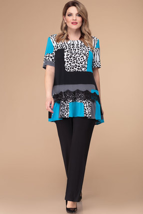 Комплект брючный Svetlana Style 1218 черный с белым