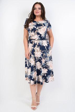Платье TricoTex Style 1419 синий с розовым, Повседневные платья, 1419, синий с розовым