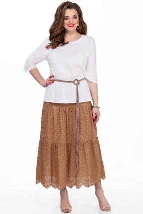 Комплект юбочный TEZA 184 коричневый с белым, Юбочные, 184, коричневый с белым