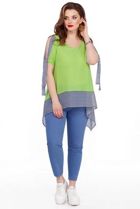 Комплект брючный TEZA 191 зеленый с голубым, Брючные, 191, зеленый с голубым
