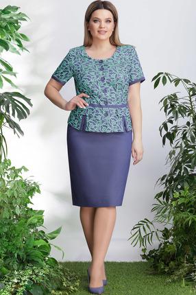 Комплект юбочный LeNata 21999 бирюза с синим