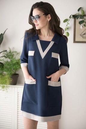 Фото 2 - Платье ЮРС 19-182-1 темно-синий темно-синего цвета