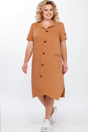Купить Платье Теллура-Л 1447 коричневый коричневого цвета