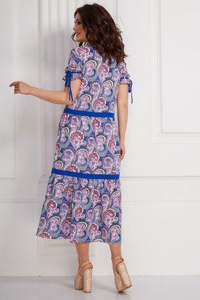 Фото 2 - Платье Solomeya Lux 588-1 синий с узорами цвет синий с узорами