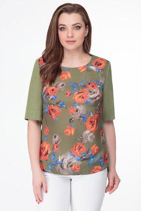 Купить Блузку Дали 4128 зеленый с оранжевым цвет зеленый с оранжевым