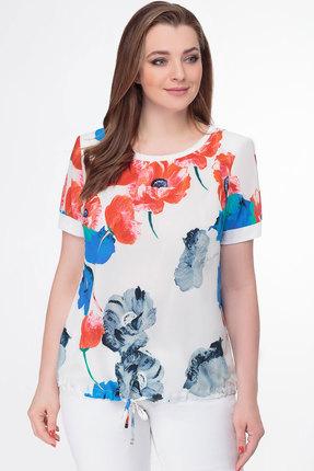 Блузка Дали 4230 белый с красным
