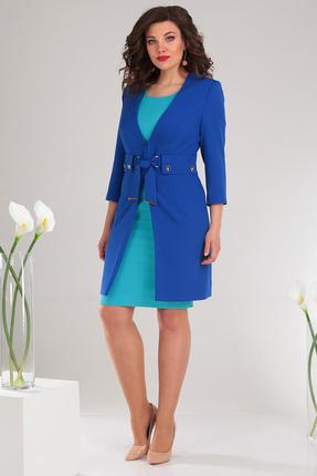 Купить Комплект плательный Мода-Юрс 2478 синий с бирюзовым цвет синий с бирюзовым