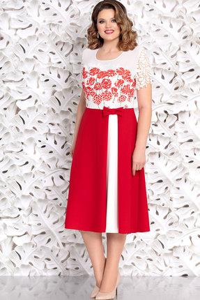 Фото - Платье Mira Fashion 4645 белый+красный цвет белый+красный