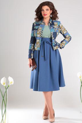 Комплект юбочный Мода-Юрс 2400 синий+зеленый
