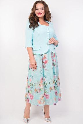 Комплект юбочный TricoTex Style 1819 голубой с розовым