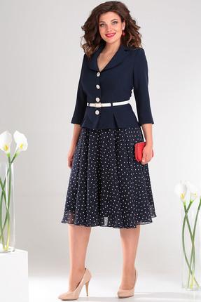 Комплект юбочный Мода-Юрс 2136-1 темно-синий + мелкий горох
