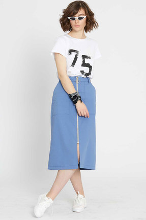 Комплект юбочный Elletto 5058 белый с голубым