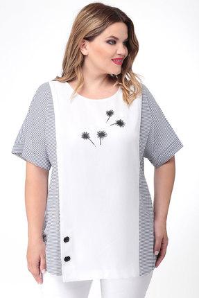 Блузка Дали 2458 белый с синим