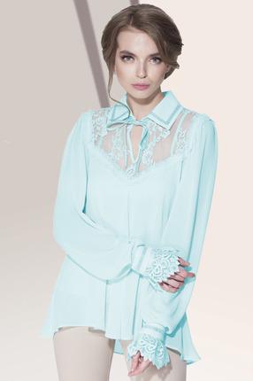 Мятная кружевная блузка с воротником