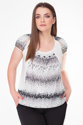 Молочная блузка с вырезом и рукавом реглан