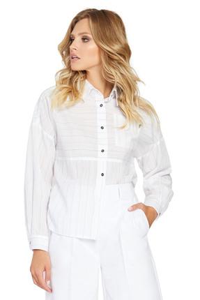 Женская светлая прямая хлопковая рубашка с карманом