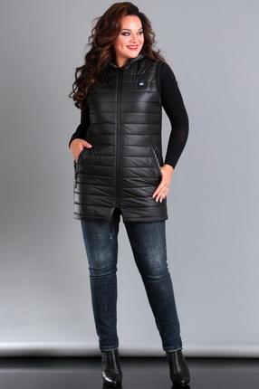Женский черный стеганый длинный жилет с капюшоном