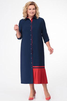 Красное синее платье со складками
