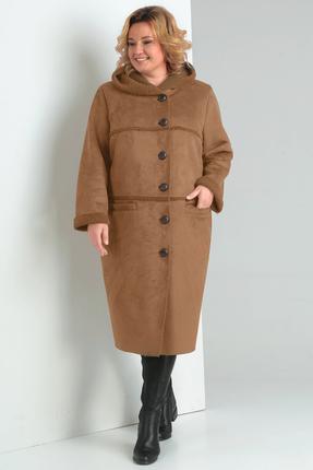 Пальто Диамант 1359 светло-коричневые тона