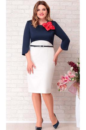 Платье Aira Style 694 молочный с синим