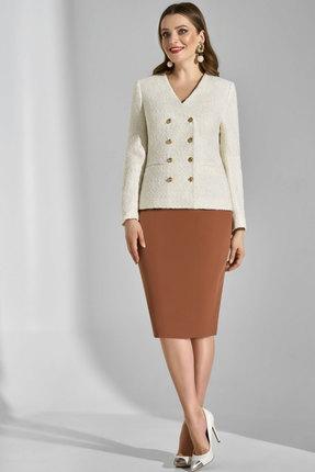 Комплект юбочный Lissana 3745 молочный с коричневым