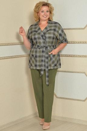 Комплект брючный Lady Style Classic 1403 оливковый с серым