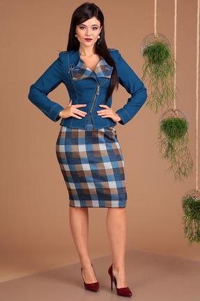 Комплект юбочный Мода-Юрс 2091 синий+коричневый