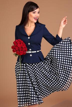 Комплект юбочный Мода-Юрс 2136-1 синий+горох
